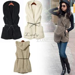 Wholesale Lambs Fur Vest - Wholesale-Fashion Womens Ladies Hoodie Faux Lamb Fur Long Vest Jacket Coat With Hat 5 Colors 36