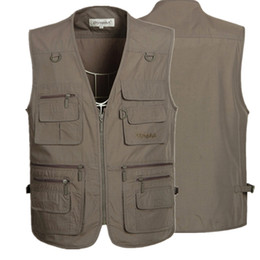 Wholesale Sleeveless Coats For Men - Fall-5 Colors Sleeveless Jackets and Coats Mens Outdoor Casual Vest With Many Pockets for Journalist Photography Sports Waistcoat