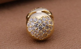 Wholesale Pandora Gold Bead Authentic - Fits Authentic Pandora Charms Bracelet gold plated Heart-shaped 100% 925 sterling silver clip beads with clear CZ DIY NEWEST women jewelry