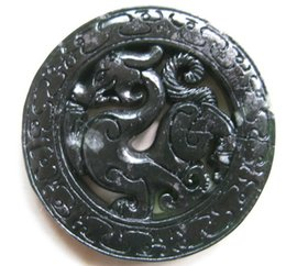 Wholesale chinese jade necklaces - Chinese Xinjiang black jade hand-carved dragon bring blessing and good luck