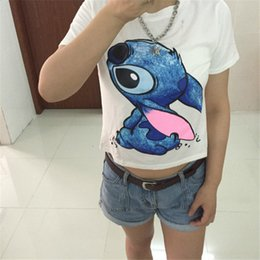 Wholesale Lilo Stitch Shirt Women - Wholesale-New Fashion Summer Style Lilo Stitch Print T Shirt Women White Cotton Tops Tees Camisas Mujer Harajuku Loose T-Shirts Femme