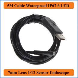 Wholesale Endoscope Snake 7mm - 5M Cable Length 6LED USB Waterproof Endoscope Borescope Tube Snake Camera 7mm Lens Camera Inspection Camera Flexible For Industrial