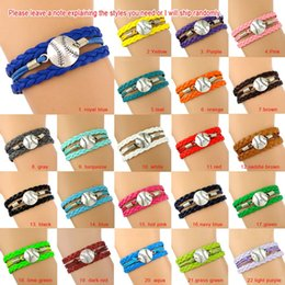 Wholesale Custom Jewelry Charms - Custom-Baseball Charm Wrap Bracelets Softball Pendants Bracelets Sport Love Leather Wax Unisex Women Men Girl Jewelry Gift