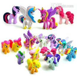 Wholesale Cheap Vinyl Dolls - Wholesale-12Pcs Lot Princess Celestia Twilight Sparkle Vinyl Doll Toy Set Plastic Unicorn Horses Toys For Girls Cheap Anime Action Figures