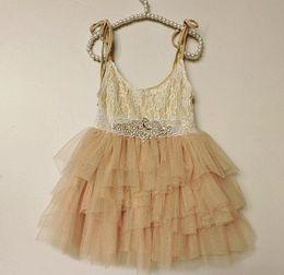Wholesale Pink Rhinestone Belts - Cutoms made Girls princess dress new children Rhinestone lace belt lace suspeder long dress kids lace 5 layer tulle tutu cake dress A8690