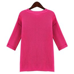 Wholesale Dress Children Fat - 2015 Europe and the new autumn and winter large size women fat mm large size solid color Slim sleeve sweater dress child tide