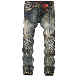 Wholesale Bleach 42 - Newest Men Street Style Vintage Jeans Patchwork Straight Denim Pants Motorcycle Pants Punk Homme Long Jeans