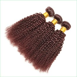 """Wholesale Red Hair Wefts - 3 or 4 Bundles Burgundy Kinky Curly Hair Weaves Glamourous 10-30"""" 99J Red Wine Afro Deep Curly Peruvian Virgin Hair Sew-in Extension Wefts"""