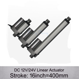 Wholesale Motor Actuator - Free Shpping! DC 12V 24V 16inch 400mm electric linear actuator , 1000N 100kgs load 10mm s speed linear actuators without mounting brackets