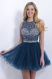 Wholesale Sweetheart Princess Prom Dresses - 2017 Junior Navy Blue Sheer Short Prom Dresses Open Back Beaded Homecoming Gowns Princess Backless Graduation Special Party Dress On Line