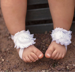 Wholesale Baby Foot Flowers Toddler - Toddler Baby Sandals Shabby Chiffon Flower Shoes Chic Barefoot Foot Flowers Ties Infant Children Girl First Walker Shoes Photography props