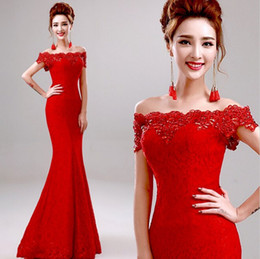 Wholesale Dress Party Promotion - Big Promotion! Elegant Crystal Beaded Red Lace Mermaid Long Evening Dresses 2015 Off the Shoulder Prom Party Dress Robe De Soiree Longue