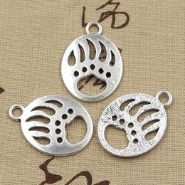 Wholesale Bears Necklace Silver - 60pcs Charms bear paw 30*22mm Antique,Zinc alloy pendant fit,Vintage Tibetan Silver,DIY for bracelet necklace