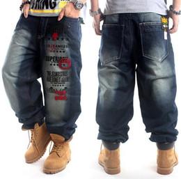 Wholesale Light Blue Skateboard - New Plus Size hip hop baggy jeans men Letter Print hip hop dance pants Skateboard Jeans Loose Style most popular jeans for men
