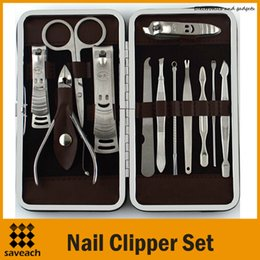 Wholesale Nail Clipper Case - 12 pcs in 1 12pcs Manicure Set Stainless Steel Pedicure Set Nail Scissors Nail Clippers Kit with Leather Case