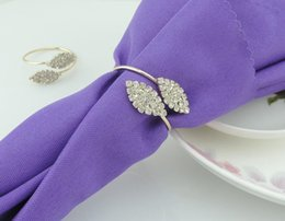 Wholesale Napkin Holders For Table Decoration - 2015 New Bling Crystal Rhinestone Leaf Napkin Rings metal wedding napkin holder for Hotel Wedding Banquet Table Decoration Accessories