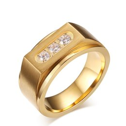 Wholesale Ip Set - Bulk Wholesale Mens Fashion Gemstone Rings Three AAA Cubic Zirconia Titanium Stainless Steel Rings IP Gold Filled Mens Gold Rings US Size
