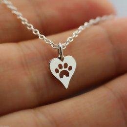 Wholesale Rhinestone Dog Charms - 10PCS- N094 Paw Print Heart Necklace Pet Puppy Dog Paw Necklace Bear Cat Love Paw Necklaces Decoupage Animal Paw Print Necklaces