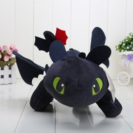 Wholesale Soft Toys Sizes - How to Train Your Dragon 40cm 15.8'' Toothless Night Fury Plush Doll Soft Stuffed Toy Big Size Doll