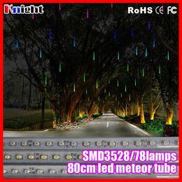Wholesale Rain Meter - Wholesale-wholesale 80cm led meteor lights shower led flow meter tube SMD3528 rain snow tube light 10pcs set waterproof shower light