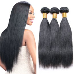 Wholesale Malaysian Sale - New Arrivals Indian Straight Human Remy Hair Weaves Extensions 3 Bundles Lot Sale Natural Black Silk Straight Human Hair Extensions