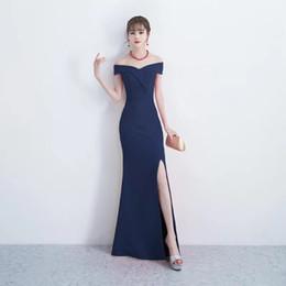 Coreano vestido de zíper bodycon on-line-Estilo coreano 2019 querido 8 cores vermelho / preto / cinza / borgonha dividir zíper longo sereia vestidos de noite desgaste da forma da mulher na véspera de Natal