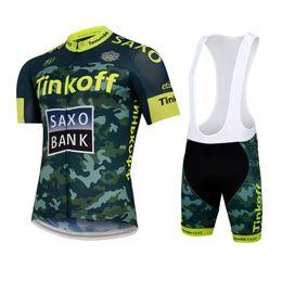 Wholesale Saxo Bank Tinkoff Bib Shorts - 2015 TINKOFF SAXO BANK TEAM Camouflage Short Sleeve Cycling Jersey Bike Bicycle Wear + BIB Shorts Size XS-4XL