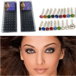 Wholesale Wholesale Nose Stud - 40pcs lots 60pcs lots wholesale mixed Nose Studs body jewelry piercing DIY Nose Rings Hot sale Free shipping
