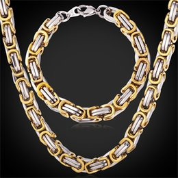 Wholesale Byzantine Steel Chain - U7 Punk Chunky Byzantine Chain Necklace Bracelet Set Two Tone Gold Plated Stainless Steel Necklace Set Party Gift Men Jewelry Sets