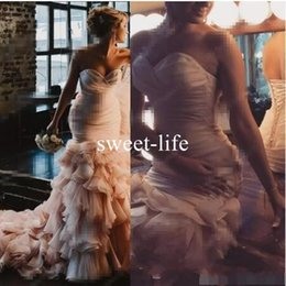 Wholesale Hot Arabic Wedding Dresses - Hot Sale 2017 Blush Pink Arabic Wedding Dresses Sweetheart Draped tulle Mermaid Bridal Dresses Sweep Train Sexy Chapel Train Wedding Gowns