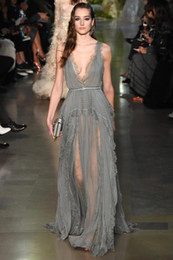 Wholesale Elie Saab Dress Grey - 2016 New Elie Saab Grey Sexy Deep V-neck Evening Dresses A-line Flow Chiffon Long Lace Prom Gowns Red Carpet Dresses with Belt BO9844