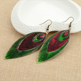 Wholesale Mix Dangling Feather Earring - Vintage Feather Leaves dangle Earrings 2colors Mix fashion jewelry earrings for Christmas Day gift E95