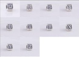Wholesale K 925 - Fits original Pandora Bracelet & necklace 100% Authentic 925 sterling silver beadS DIY charms letter K-T LOOSE BEADS women jewelry 1pc lot