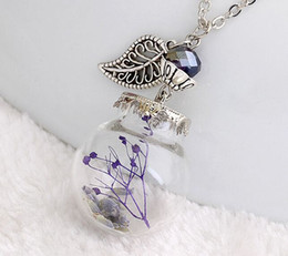 Wholesale Buy Pendants - 2016 Sweet Dry Flower Pendant Necklace Leaves Crystal Bead Light bulb Container Crazy Buy Pendant Jewelry YPQ0009