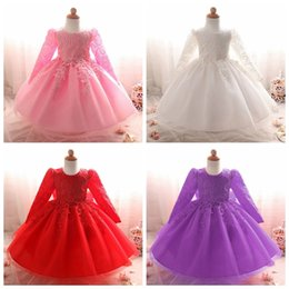 Wholesale Knee Length Mermaid Lace Wedding Dress - Infant girl's princess dress toddler birthday party wedding dresses kids crochet tutu skirts with big bow babies party prom dress