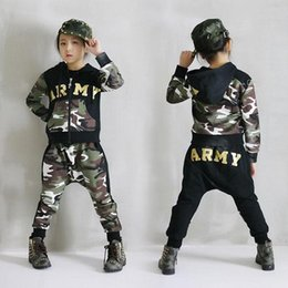 Wholesale Children S Clothing Leopard Print - 2017 Spring Autumn Boys Clothes Set Camouflage Long Sleeves Children Clothing Sets Letters Printed Sport Kids Girls Hoodies Set
