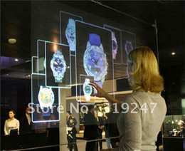 Wholesale Holographic Rear Projection - Wholesale-1.5X8Meter holographic technology rear adhesive film for window display or exhibition useage vivid effect projection screen film