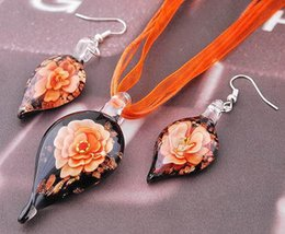 Wholesale Costume Ribbon Jewelry - Wholesale-Trendy Murano Glass Flower Inside Gold Dust Water Drop Pendant Necklace Earring Sets Ribbon Chain Cool Summer Costume Jewelry
