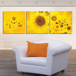 Wholesale Large Yellow Abstract Oil Painting - New 3 Piece Modern Wall Oil Painting Abstract Large yellow sunflower Wall Art Picture Paint on Canvas Prints for home decorat