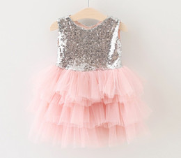 Wholesale Girls Dresses Free Shipping Dhl - free ups dhl ship 2016 Girls Sequins Lace bow tutu dresses Kids girls spring summer Bow party dress baby princess tutu dress