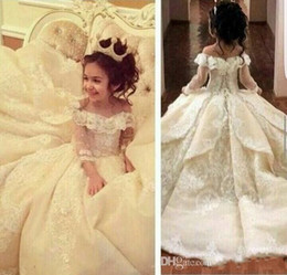 Wholesale Special Occasion Dresses For Kids - Princess Off The Shoulder Ball Gown Flower Girl Dresses Special Occasion For Weddings Floor Length Kids Pageant Gowns Communion Dress