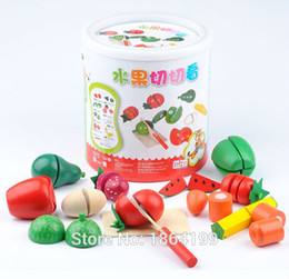 Wholesale Wooden Kitchen Play Set - Wholesale-2015 educational brinquedos wooden toy play house fruit vegetable set cut kitchen toys, wooden fruit and vegetable cutting set