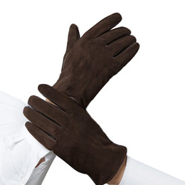 Wholesale Men S Fingerless Leather Gloves - Wholesale-Free Shipping Men`s Mittens Winter Nubuck Leather Gloves For Men Gloves Warn Glove Free Shipping