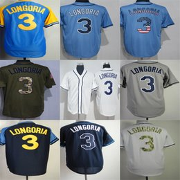 Wholesale Womens Army Shorts - Factory Outlet Mens Womens Kids Toddlers Tampa Bay 3 Evan Longoria Blue Green Grey Navy White Best Quality Cheap Embroidery Baseball Jerseys