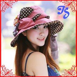Wholesale Foldable Sunbonnet - Wholesale-Women Summer Bucket Hat with flower outdoor hunting fishing cap Wide Brim Foldable Floppy Beach Caps Boonie Sunbonnet Chapeau