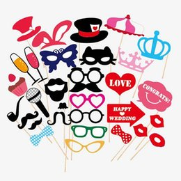 Wholesale Lips Mustache Decorations - 31 PCS Set Wedding Party Funny Cardboard Mask Photo Booth Props Party Gifts Decorations Supplies Creative Bearded Lips Mustache On A Stick