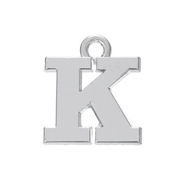Wholesale Alphabet Charms K - Free shipping New Fashion Easy to diy 20pcs rhodium K alphabet pendant charm your life jewelry making fit for necklace or bracelet