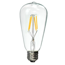 Wholesale E27 Globe Lamp - ST64 4 6 8W E27 110V 220V Dimmable 2700K Edison Style Vintage Retro LED Filament Light Bulb Lamp 2700K Warm White