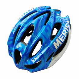 Wholesale Merida Cycle Helmets - Wholesale-casco bicicleta cycling helmet Bicycle MERIDA Adult Mens Bike Helmet Blue with Visor Helmet cycling mtb