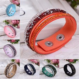 Wholesale Genuine Crystal Bracelets - natural crystal bracelet luxury exclusive design genuine leather statement bangles for women with magic closure jewelry 162455